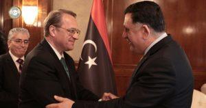 Serraj greets Bogdanov in Tripoli (Photo: PC)