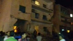 The Benghazi building in which three died in today's rocket attack (Photo: social media)