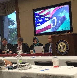 L to R: wolfgang puztchai, bill Lawrence, zahra' langhi, Walid Phares listening to Theodore Karasik