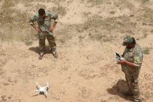 Saiqa Special Forces men deploying a drone near Sabri today (Photo: social media)