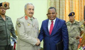 Khalifa Hafter with AU Libya mission head Jean Jacoso (Photo: LNA)