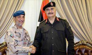 Hafter and UAE deputy chief of staff Eisa Saif Al-Mazrouei (Photo:LNA)