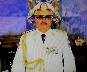 Khalifa Hafter speaking on TV this evening (Screen grab)