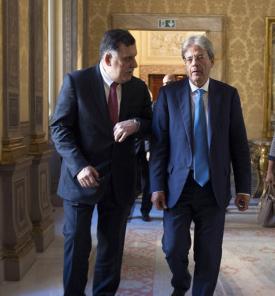 Serraj and Gentiloni in Rome today (Photo: Italan government)