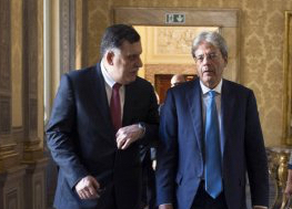Serraj and Gentiloni in Rome yesterday (Photo: Itailan government)