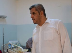 Zliten's mayor Muftah Hamadi at the town's hospital (Photo: Zliten Municipality)