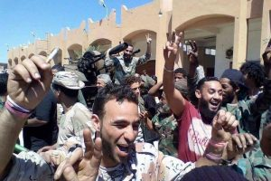 Jubilant LNA troops after they were told the militants were beaten (Photo: social media)