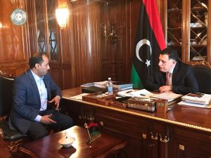 Tobruk acting mayor Ali Saghir and PC head Faiez Serraj in Tripoli (Photo: PC media office)