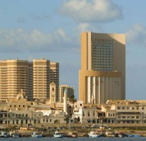 Corinthia hotel and Old city from harbour