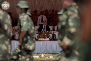 Presidential Guard graduates march past Faiez Serraj today (Photo: PC)