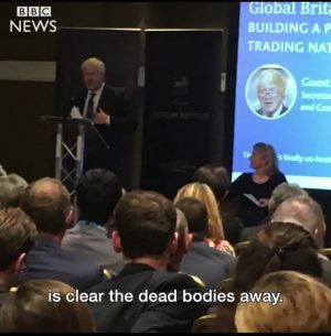 British Foreign Secretary Boris Johnson said yesterday at the Conservative Party Conference that businesses could turn Sirte into a Dubai as soon as Libyans ''clear the dead bodies away'' (Photo: BBC NEWS).