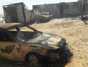 The attack on the Ajdabiya checkpoint (Photo: Social media)