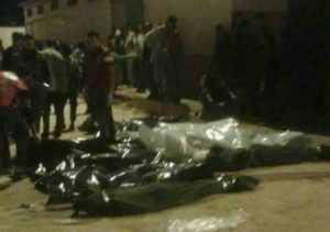 The Al-Abyar bodies being collected last night (Photo: social media)