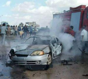 One of t vehicles damaged in today's Benghazi explosion (Photo: social media)
