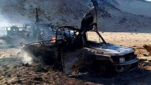 One of the terrorist vehicles after the air strike (Photo: Egyptian gov)