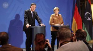 Serraj and Merkel in Berlin (Photo: PC media office)