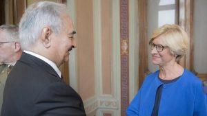 Khalifa Hafter and Itlian Defence minister Riberta Pinnoti