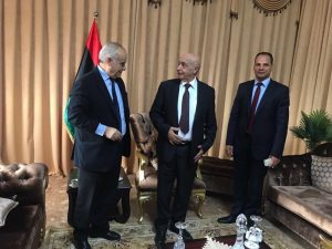 UN special envoy Ghassan Salamé (left) with HoR president Ageela Saleh (centre) and HoR second deputy president Ahmed Huma in Tobruk yesterday (Photo: UNSMIL)