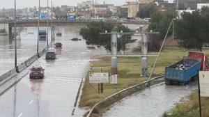 Flooded roads in Tripoli (