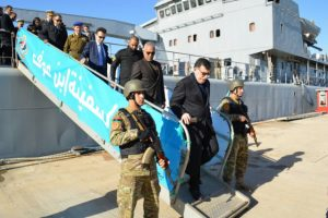 Serraj visits Libyan naval ship Ibn Ouf after it was repaired by the Italian Navy (Photo: GNA).