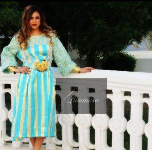 Bahrain-based Libyan designer Arwa uses traditional Libyan designs in her modern designs (Casa Luminosa).