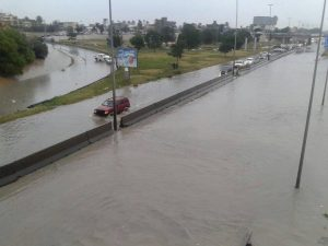 Heavy rain over the last two days has led to road closures in Tripoli (Photo: social media).