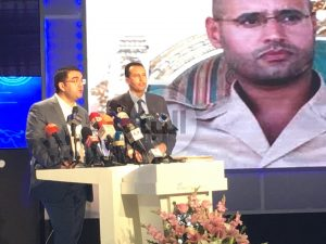 The PFLL, announce at a press conference in Tunis that Saif Al-Islam Qaddafi will stand in the 2018 elections (Photo: social media).