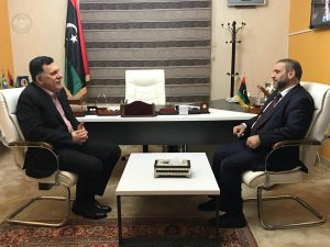 PC head Faiez Serraj and new HSC head Khaled Mishri met and agreed for the need for consensus and democratic process (Photo: PC).