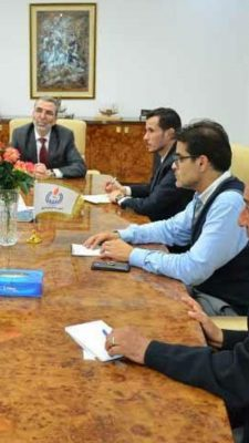 Milad al-Hajrasi in a meeting with NOC chairman Mustafa Sanalla (Photo: Fuel and Gas Crisis Committee).