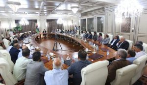 Head of the Presidency Council and Government of National Accord Faiez Serraj talked tough on Security and other measures during his meeting with local council leaders (Photo: PC/GNA)