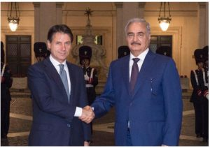 Khalifa Hafter has confirmed his participation in the Palermo conference during his Rome visit on Sunday (Photo: Italian Government).