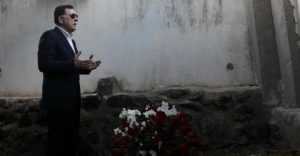 PC head Faiez Serraj paying his respects to Libyan exiles that had died during theItalian colonisation of Libya in the Italian island of Ustica, Sicily (Photo: PC).