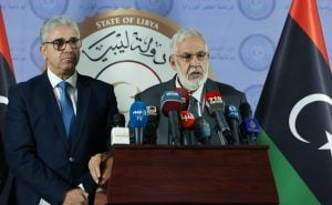 At a press conference today following on from the deadly suicide terror attack, the Yripoli-based Interior Minister (left) Bashagha admitted security short fallings while Foreign Minister Siala called for the partial lifting of the arms embargo (Photo: PC).