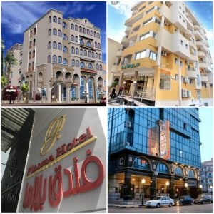 The Safwa, Asshajara, Plasma and Four Seasons hotels (L-R) are examples of well known mid-range hotels in Tripoli (Photos: Social media).