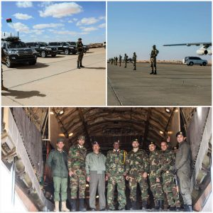 The LNA top brass arrived in south Libya today to emphasise their recent military success (Photo: LNA).