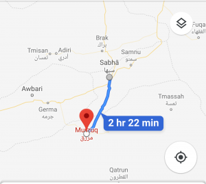 There are conflicting reports about the fighting in Murzuk by Khalifa Hafter-led LNA forces and Tebu forces (Google Maps).