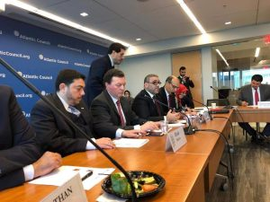 HSC head Khaled Mishri was speaking at the Atlantic Council in Washington DC yesterday as part of his drive this week to court the U S. capital (Photo: Social media).
