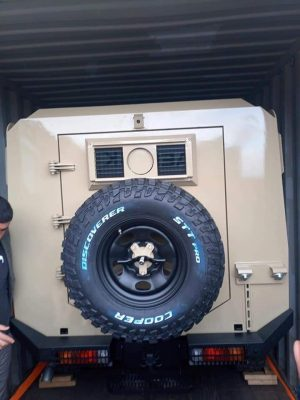 One of the armoured vehicles seized by customs at Khoms port last week (Photo: Social media).